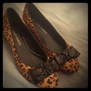 Animal print short heel shoes